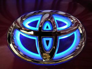 Led Car Decoration Logo Blue Led Light 14cm Car Front Emblem For