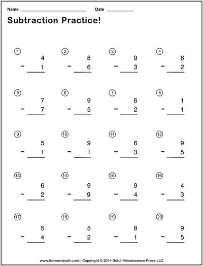 Simple Subtraction Worksheets for Students and Teachers | PDF Format ...