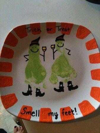 Kid footprint Halloween plate