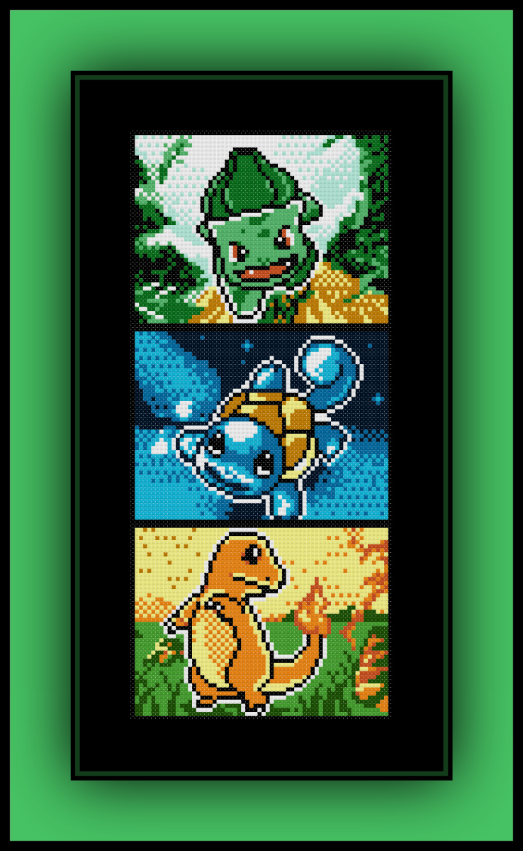 Free Kanto Starter Pokemon Cross Stitch Pattern Bulbasaur, Squirtle ...