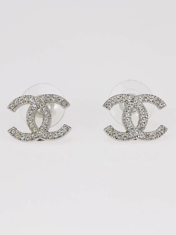 3aa29e1c5 Chanel Classic Swarovski Crystal CC Logo Earrings | ♥ JEWELS ...