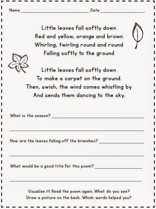Positively Learning 5 For Friday Fall Poetry Freebie Poetry Worksheets Poetry Comprehension Worksheets Poetry Freebie Comprehension worksheets for grade 5
