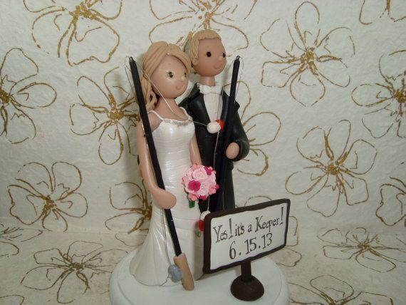 Bride & Groom Customized Fishing Theme Wedding Cake by mudcards, $132.00