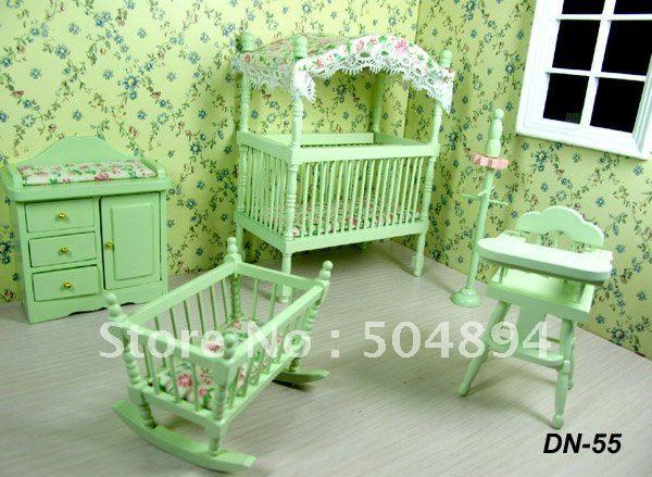 5pcs Set Nursery Baby Room Wood Bed Bedroom 1 12 Scale Dollhouse Miniature Nurseries