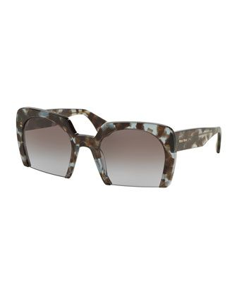 0fd5429d55 Rasoir+Tortoise+Cutoff+Square+Sunglasses+by+Miu+Miu+at+Bergdorf+Goodman.