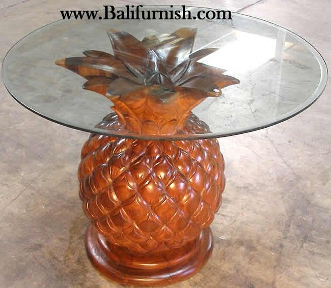 Glass Top Dining Table With Pineapple Base