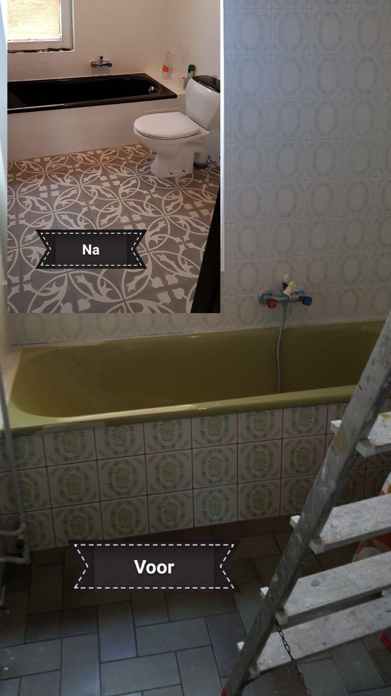 Make over badkamer Tegelverf/botenlak/flexxfloors | nieuwe huis ...