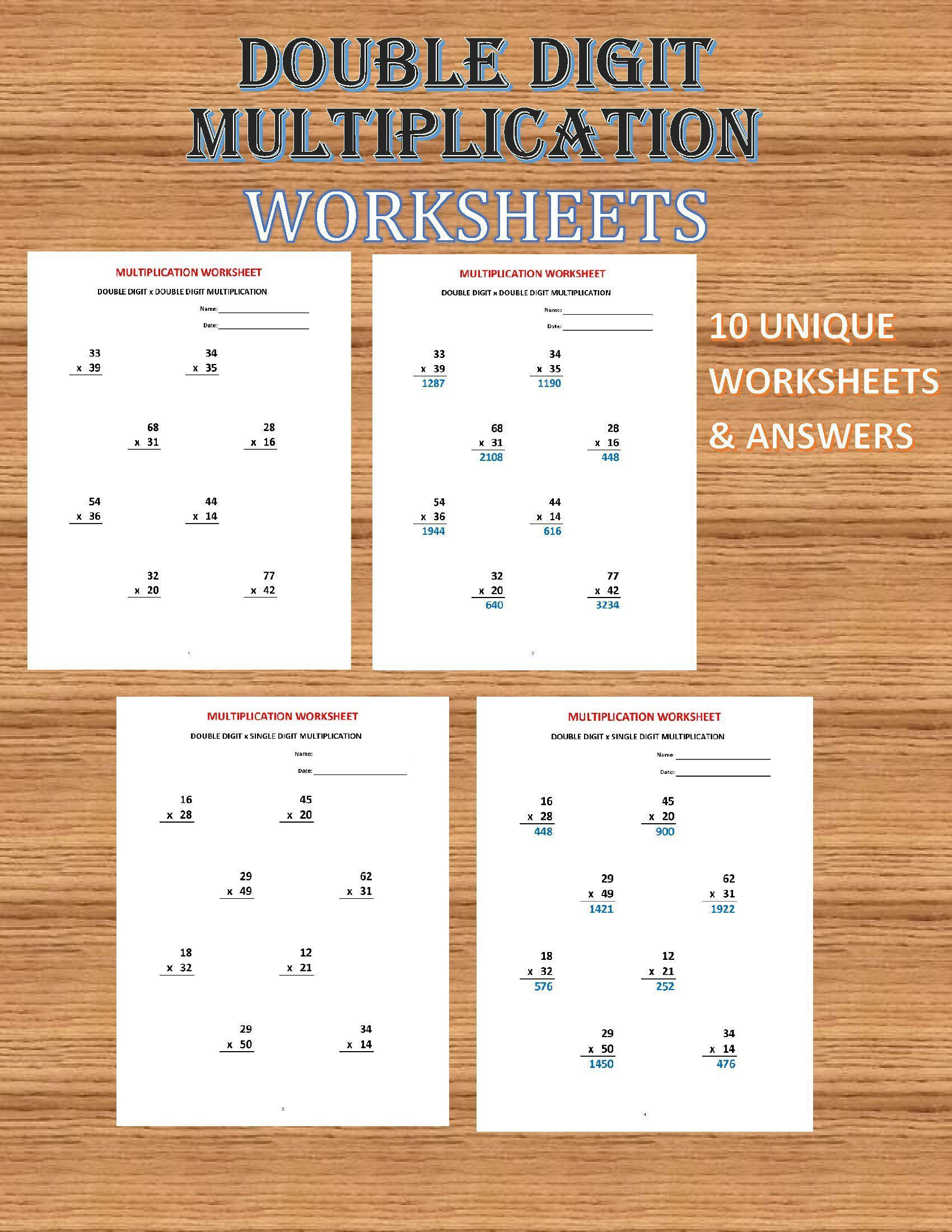 Multiplication double digit 10 Math Worksheets with   Etsy   Math worksheets [ 2200 x 1700 Pixel ]