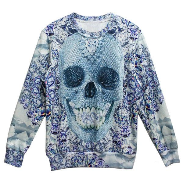 Diamante Skull Print Unisex Sweatshirt (185 NOK) ❤ liked on Polyvore featuring tops, hoodies, sweatshirts, multi, unisex tops, blue sweatshirt, blue top, blue knit top and knit tops