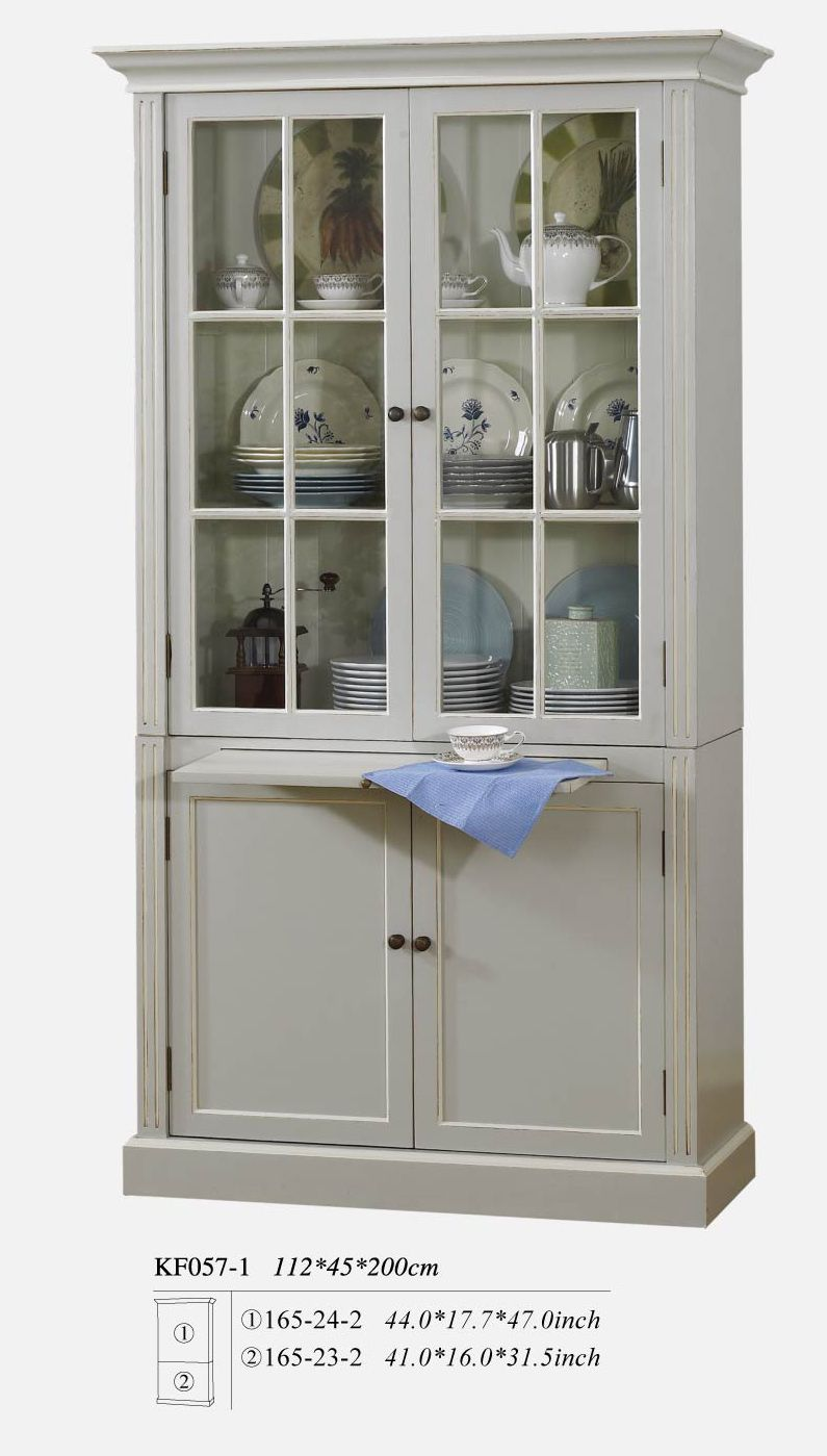 French Provincial Vintage Furniture Gl Display Cupboard In Pearl White Cabinet Chest