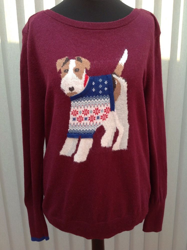 83c9f7671df Ladies Joules Knitwear Maroon Airedale Fox Terrier Christmas Jumper ...