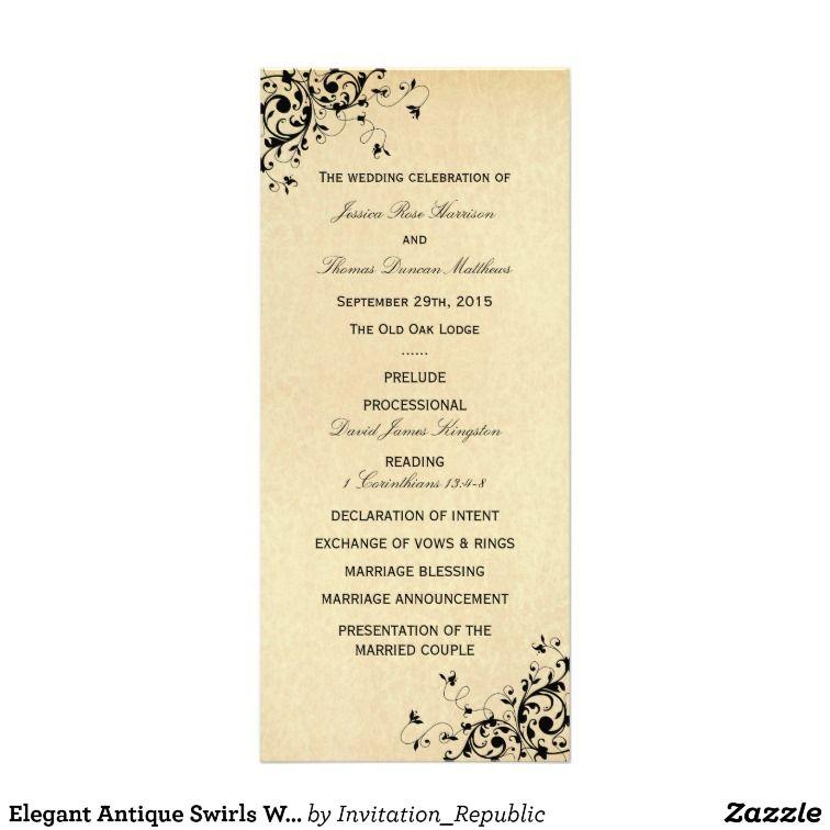 Elegant Antique Swirls Wedding Program Template  Wedding