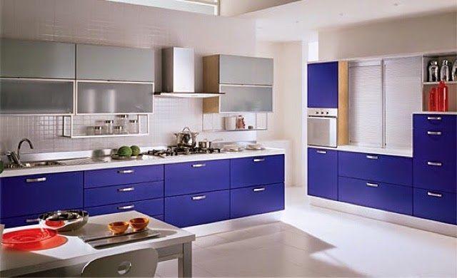 Cocina de color azul cocinas peque as pinterest for Colores en cocinas pequenas