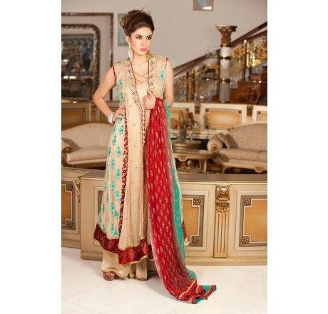 Pakistani Designer Dresses - Lowest Prices - Fawn Color Party Dress by Exclusiveinn - Latest Pakistani Fashion www.iluvdesigner.com I LOVE DESIGNER