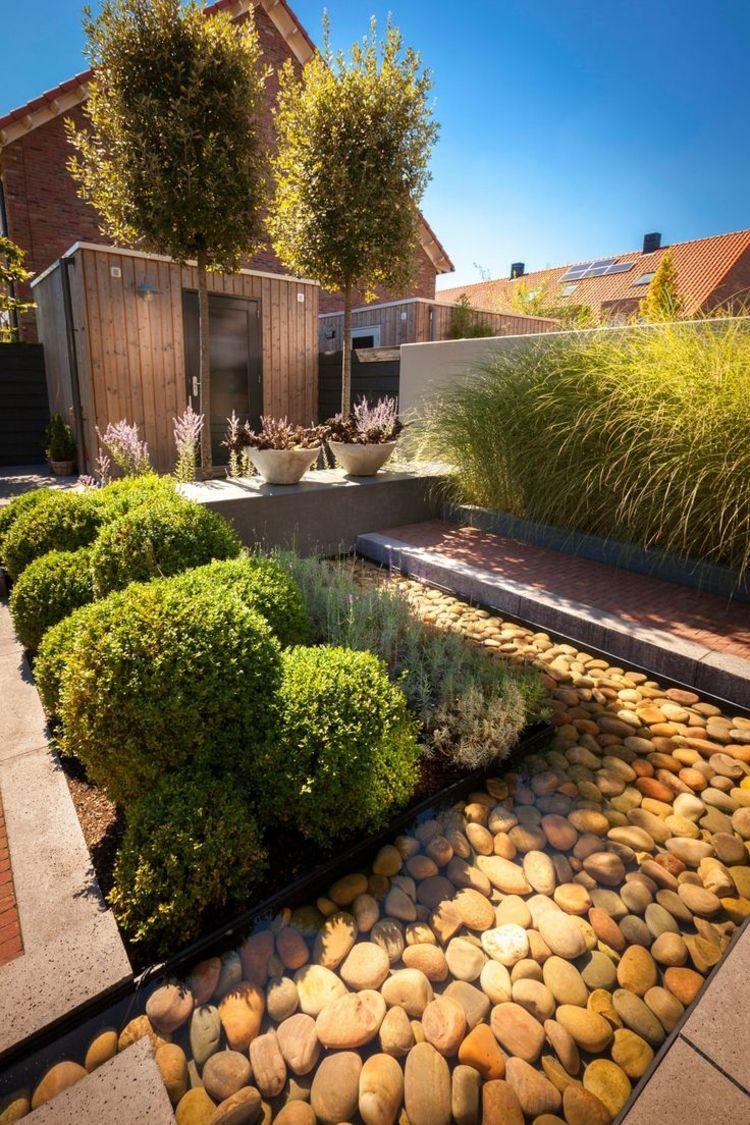 Ideen Zur Gartengestaltung Modern  Wasser Dekoration Flusssteine Buchsbaum Kugeln