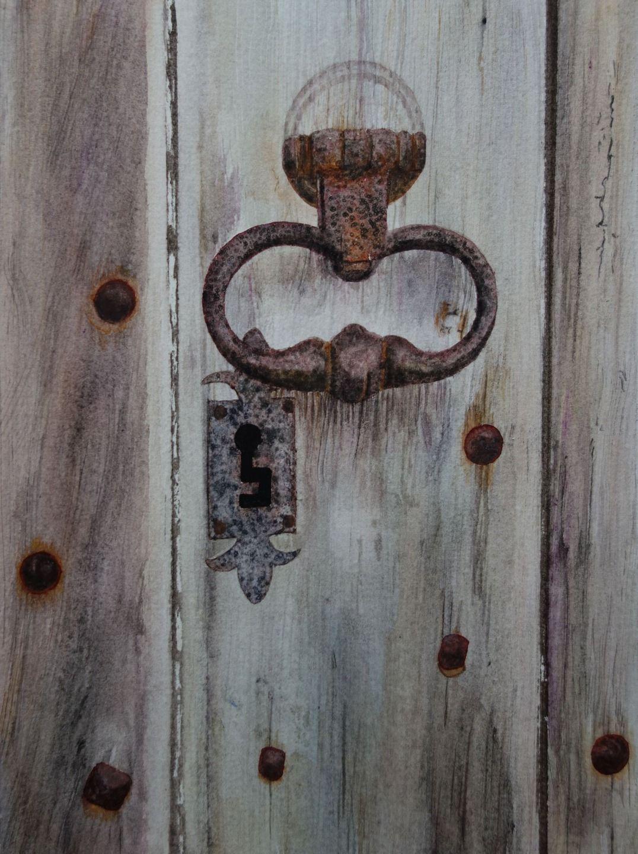 Aquarelle sc ne de vie cherchez la clef sc ne for Peinture porte bois