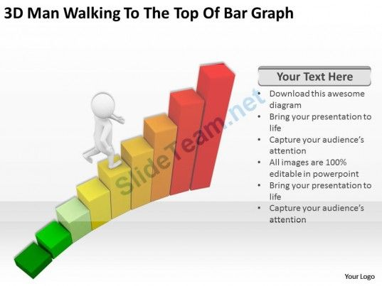 D Man Walking To The Top Of Bar Graph Ppt Graphics Icons