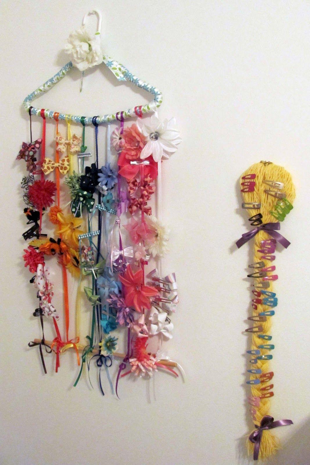 DIY hair clip organizer LUUUX Percha linda, cintas del