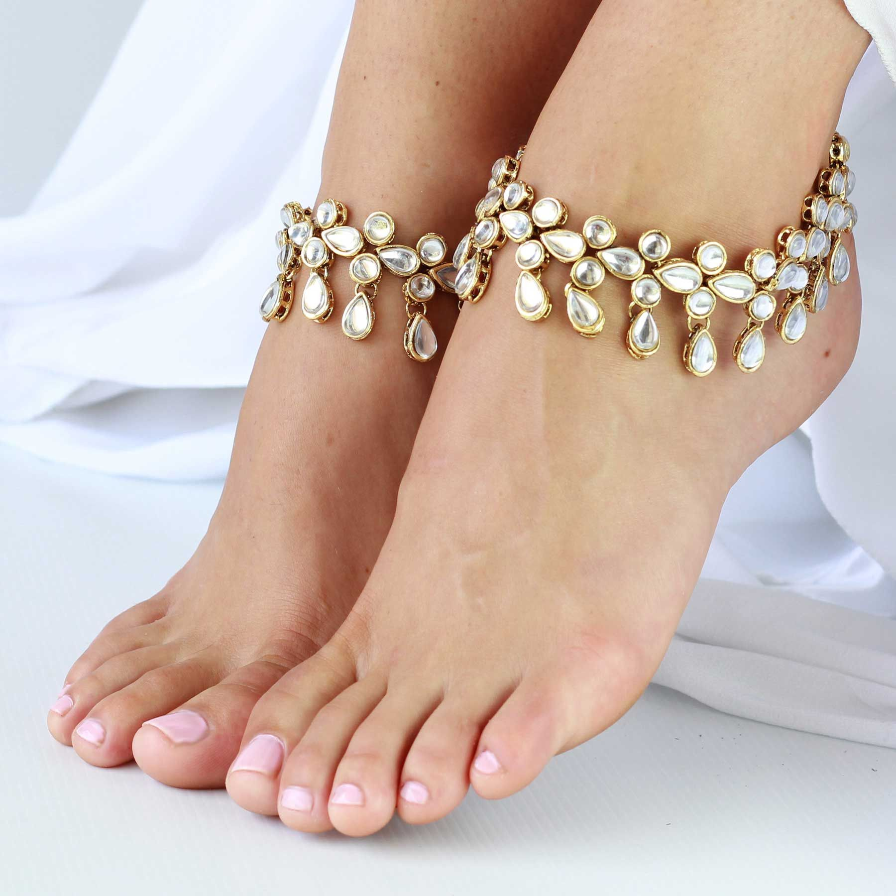 jewelry fairybones sandals foot barefoot on anklet beach silver by wedding pin rhinestone