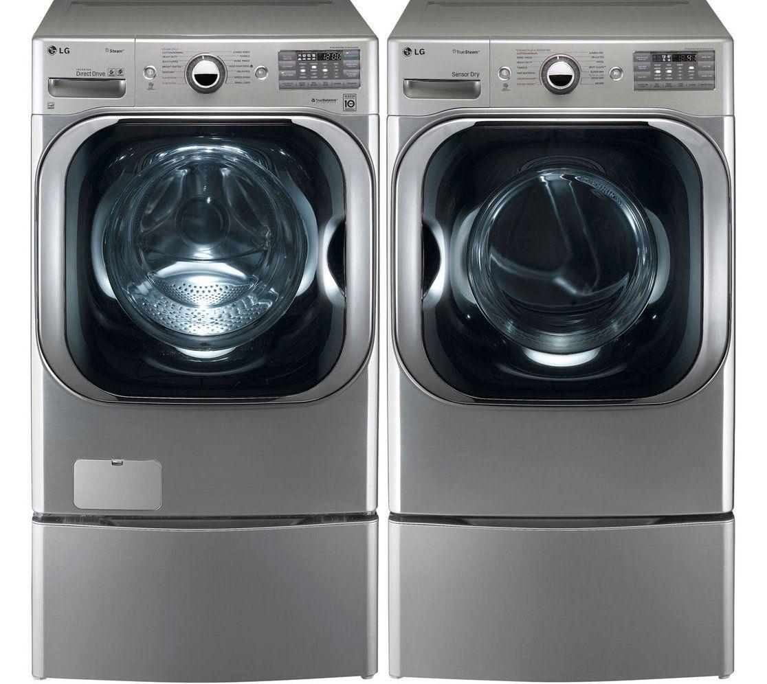 Lg Wm8000hva 5 1 Cu Ft Mega Capacity Electric Washer Washer Features Turbowash Tech Steam Washer Front Loading Washing Machine Lg Washer And Dryer