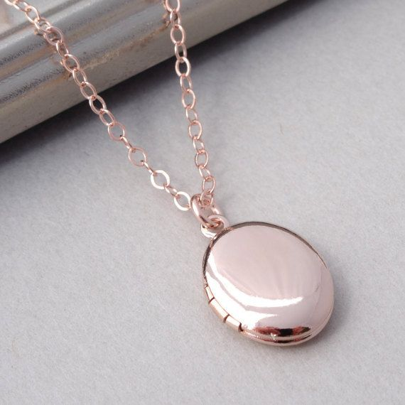 Rose Gold Locket Necklace Rose Gold Necklace Small Gold Locket