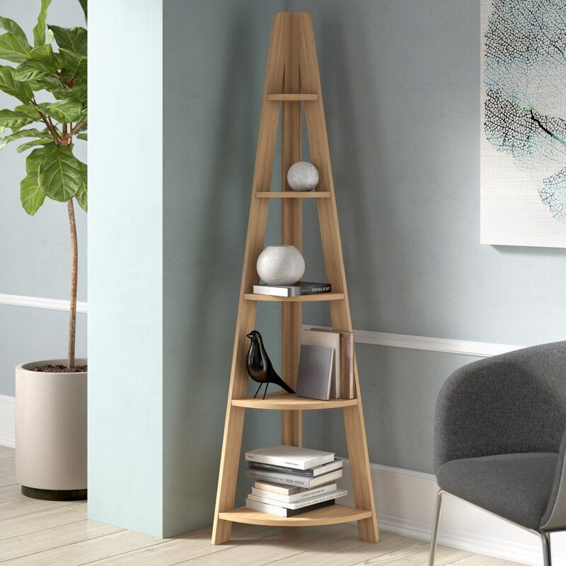 Yareli Corner Bookcase In 2020 Bookcase Corner Bookcase Hallway Furniture Storage