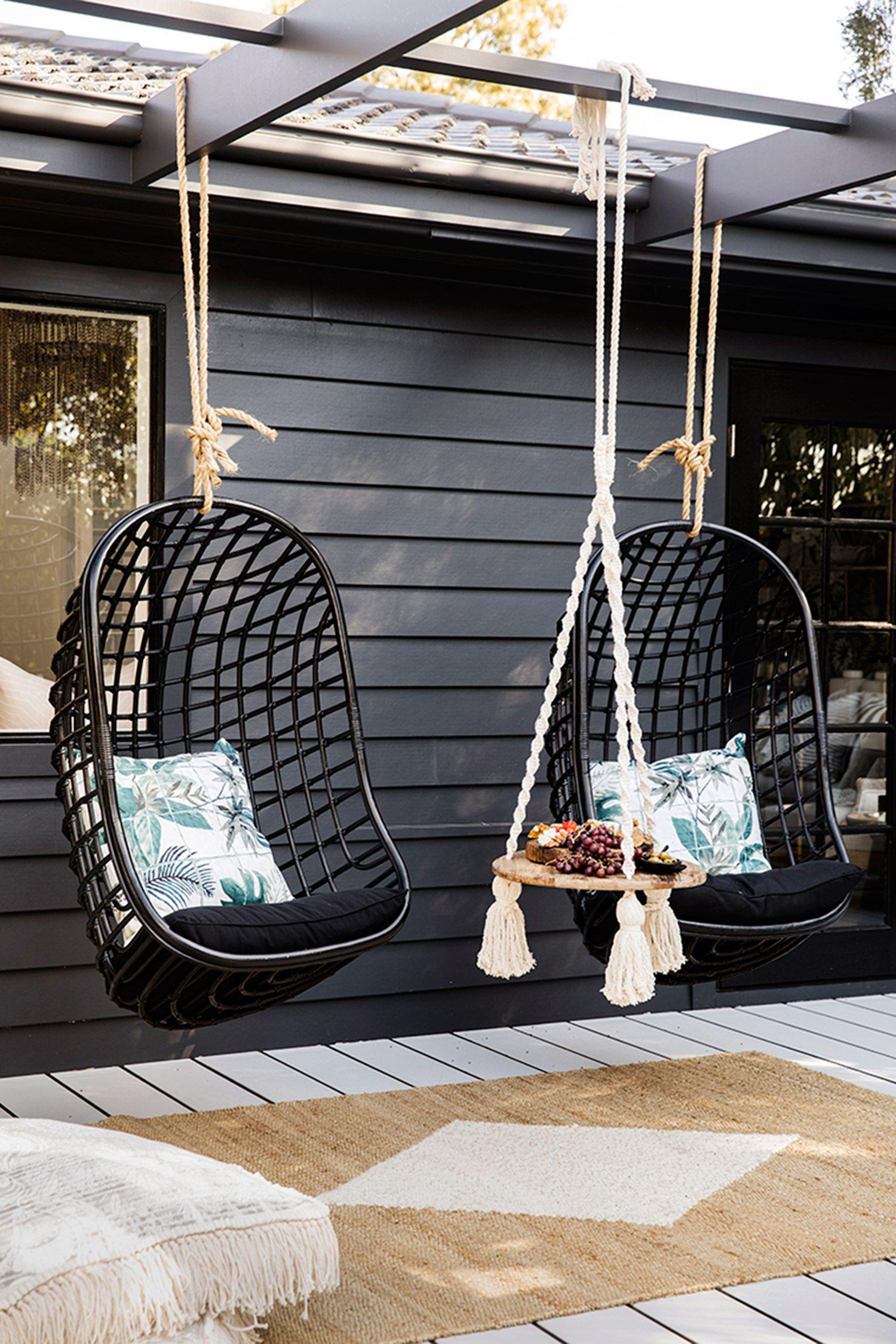 Three Birds Renovations House 9 Exterior Alfresco Hanging Chair Outdoor Outdoor Hammock Chair Three Birds Renovations