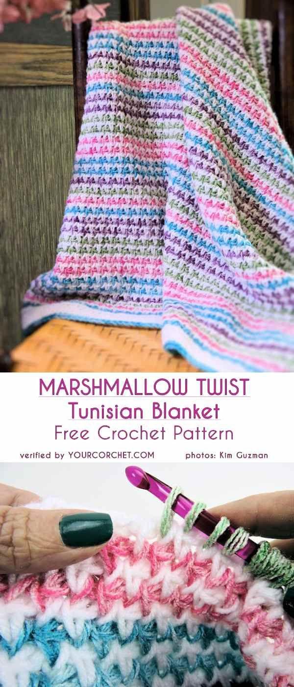 Marshmallow Twist Tunisian Blanket Free Crochet Pattern Decken