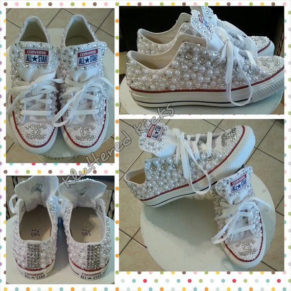 f84ec190b Custom Pearls and Rhinestone Converse by KlutteredKicks on Etsy