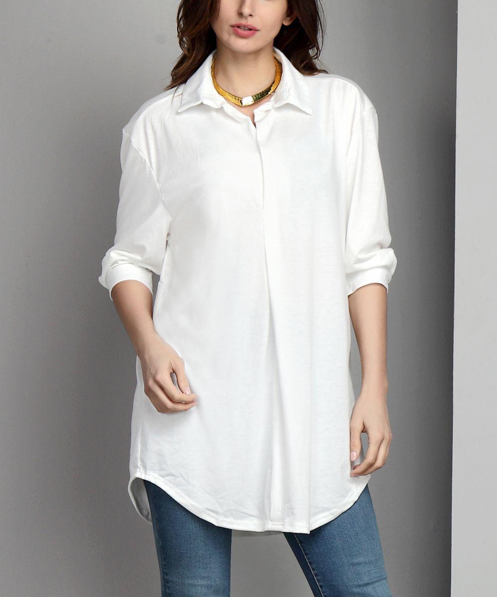 White Collared V-Neck Tunic - Plus