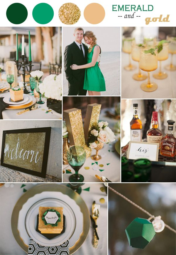 Emerald Gold Champagne Black To Love Pinterest Wedding