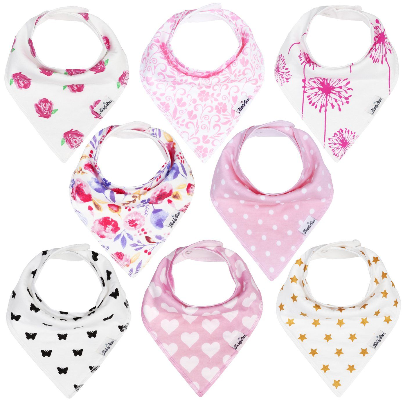 Kiddystar Bandana Baby Drool Bibs For Girls 8 Pack Bib Set For  # Muebles Bandama