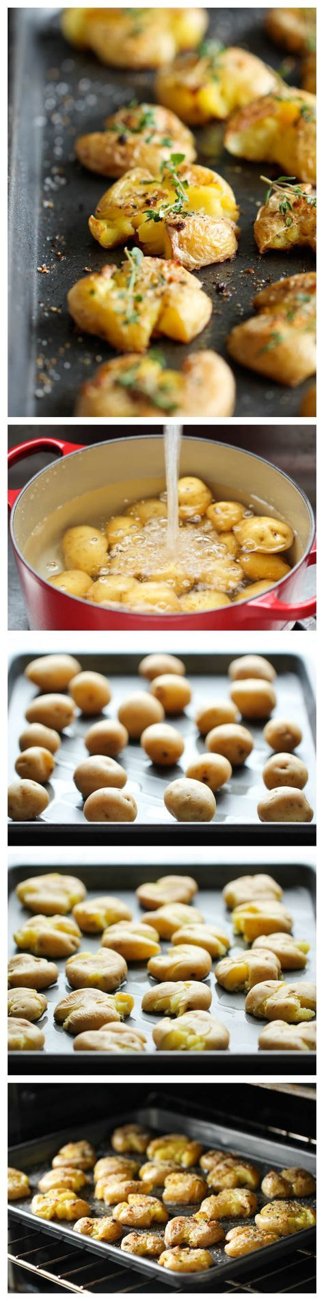 Garlic Smashed Potatoes - These potatoes are incredibly tender on the inside yet amazingly crisp on the outside! Dutch yellow potatoes from melissa's produce. #DYP