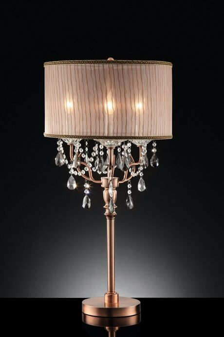 L95126t Christina Hanging Crystals Table Lamp With