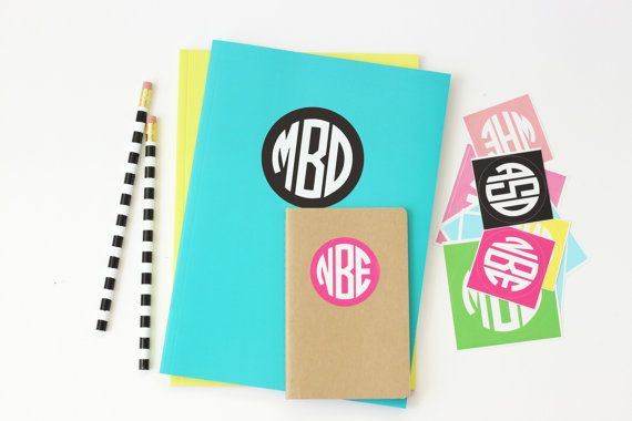 Personalized Round Monogram Stickers Kids Name Labels Custom