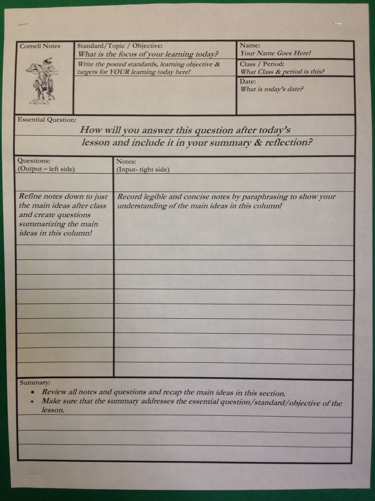 Pin By Iva Rice On Cornell Notes