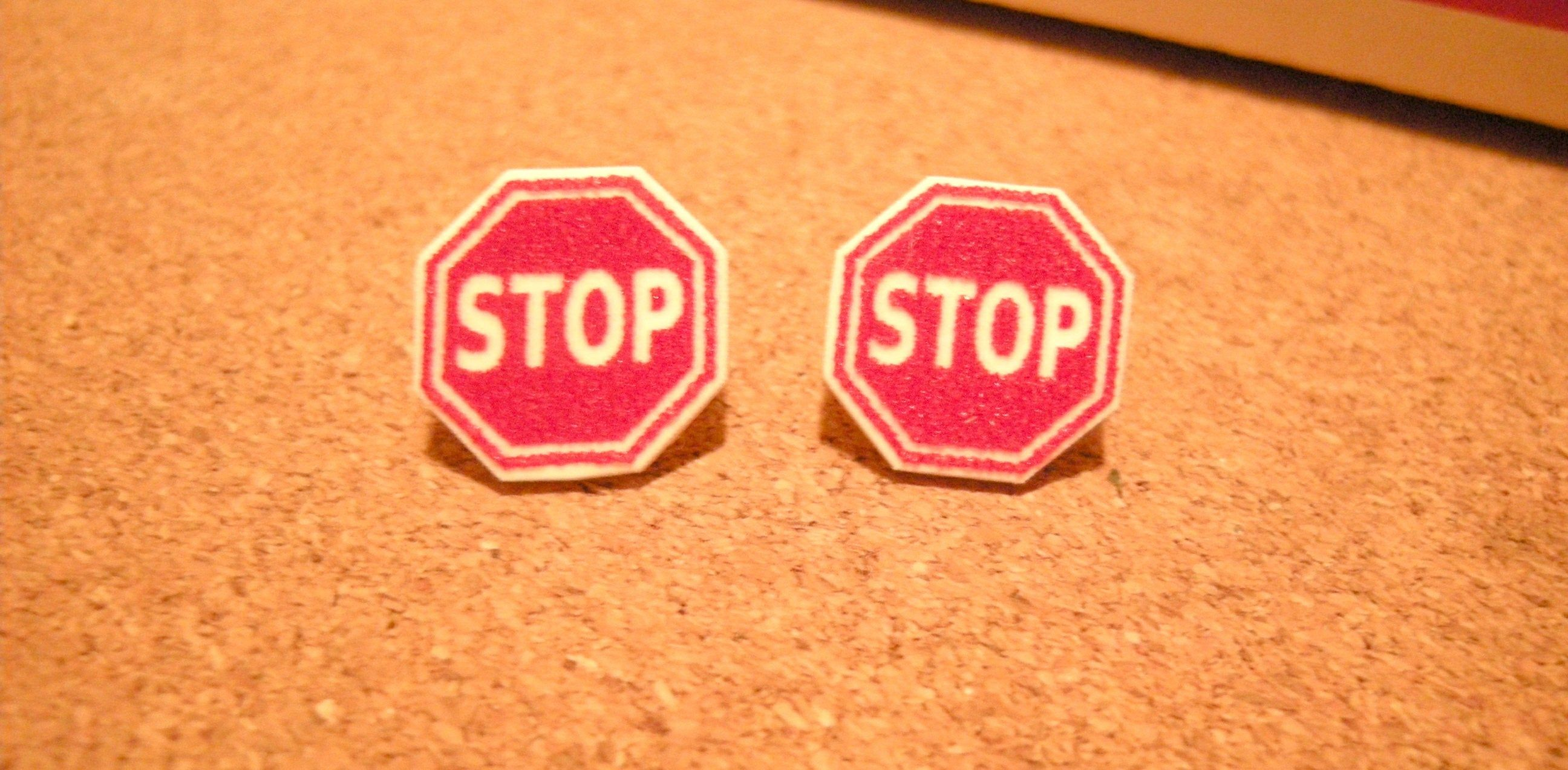Stop Sign Pierced Earrings, handmade jewelry, 13mm new driver protest statement jewelry