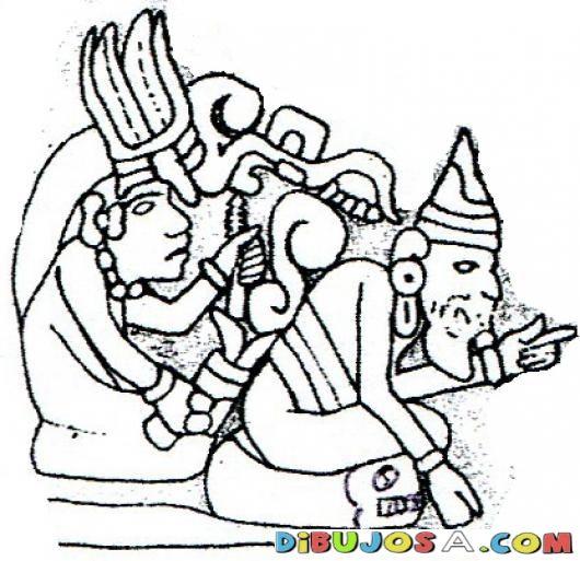 Dibujo Maya De 2 Hombres Para Pintar Y Colorear   COLOREAR MAYAS ...