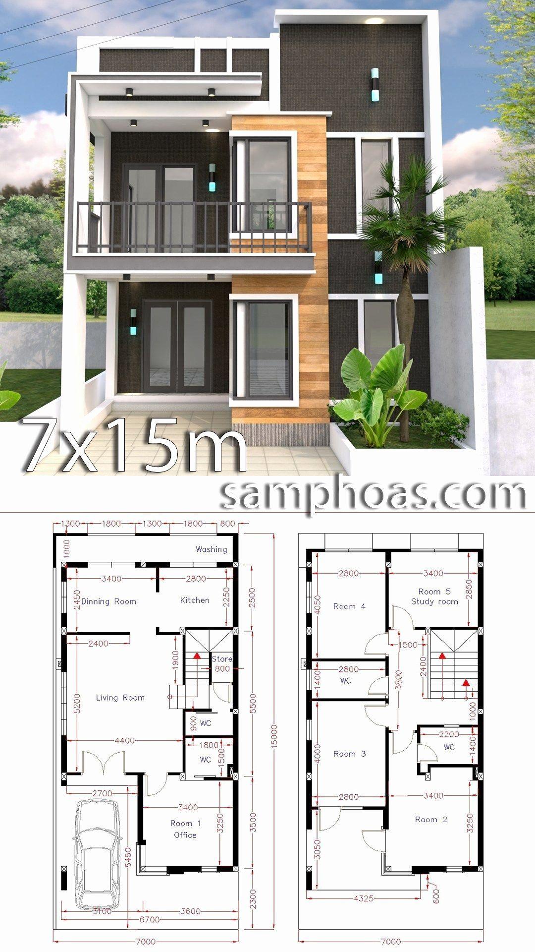5 Bedroom Duplex House Plans Lovely Home Design Plan 7x15m With 5 Bedrooms Small House Design Plans Duplex House Design House Construction Plan