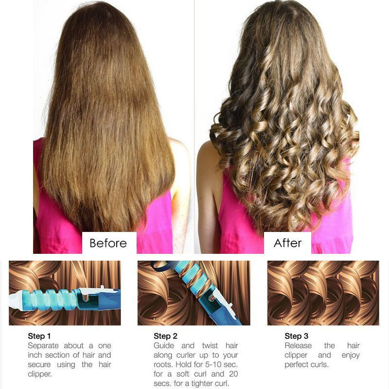 Professional Hair Volume Spiral Ceramic Curling Iron Wand Curler Styling Tool Curling Iron Hairstyles Hair Curlers Rollers Hair Curlers