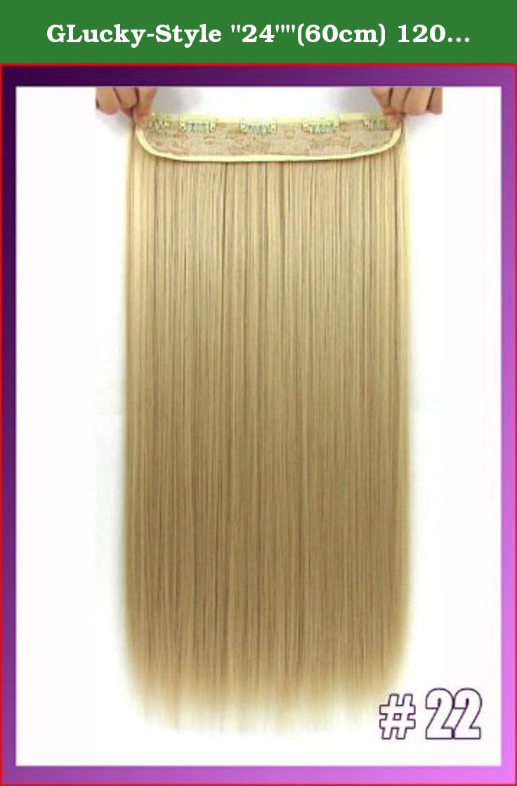 """GLucky-Style """"24""""""""(60cm) 120g straiht clip in hair extensions hairpiece hair pieces accessories color #22 Light Honey Blonde"""". 24""""(60cm) 120g straiht clip in hair extensions hairpiece hair pieces accessories color #22 Light Honey Blonde."""