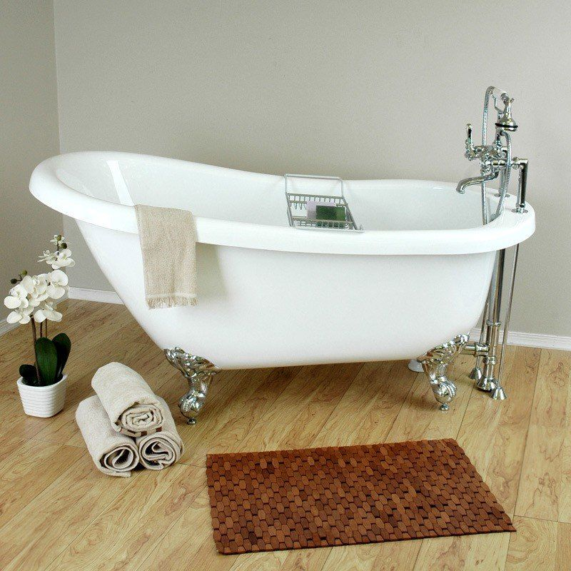 Bristol 62 Inch Acrylic Slipper Clawfoot Tub Package Vintage Tub