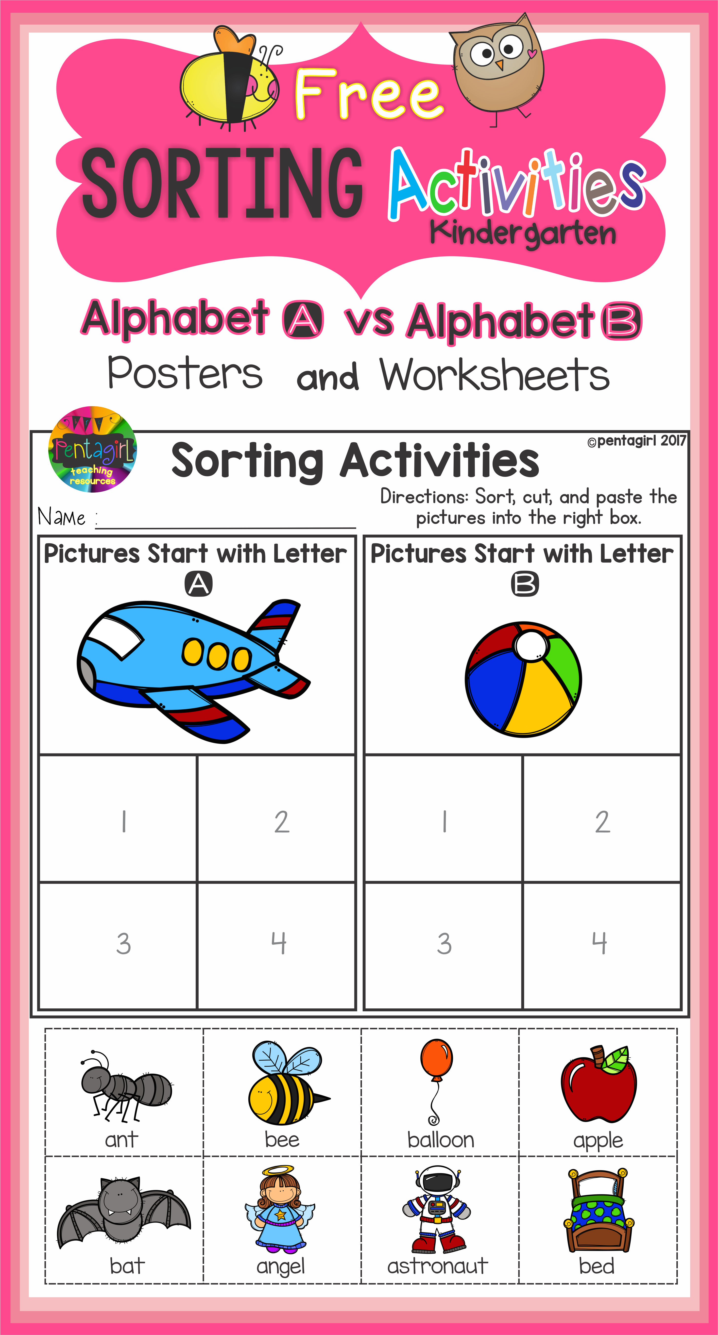 Free Sorting Activities Posters And Worksheets Alphabet A