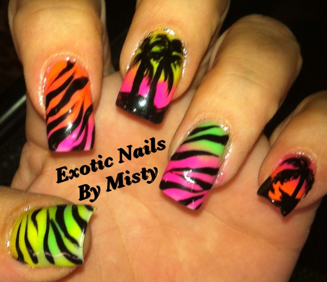 Summer nail I loved doing these | Exotic Nails Hand painted nail art ...