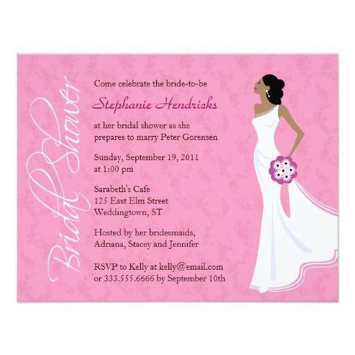 modern elegance pink bridal shower card - African American Wedding Invitations