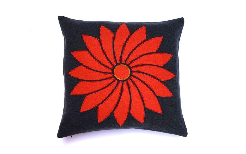 Chrysanthem felt applique cushion