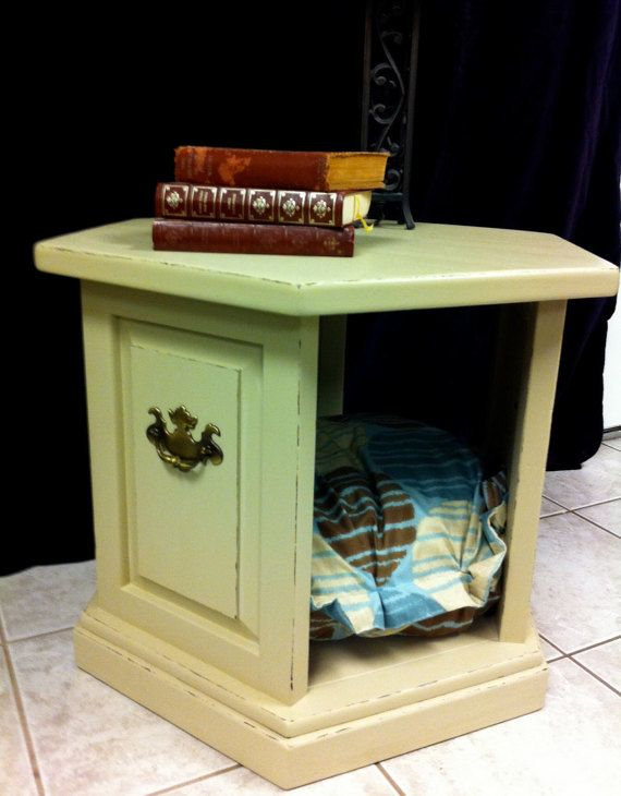 Vintage Wood Side End Table Dog Pet Bed Hand Painted Hexagon Nightstand Shabby Chic Cottage Shabby Chic Nightstand Dog Pet Beds Vintage Wood