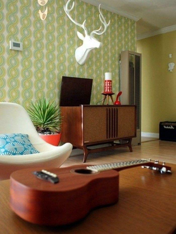 innendesign ideen retro wohnzimmer schönes tapetenmuster pflanze - einrichtungsideen wohnzimmer retro