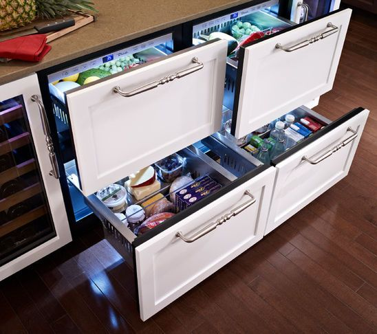 Pull Out Fridge Drawers For Produce And Drinks Kitchen