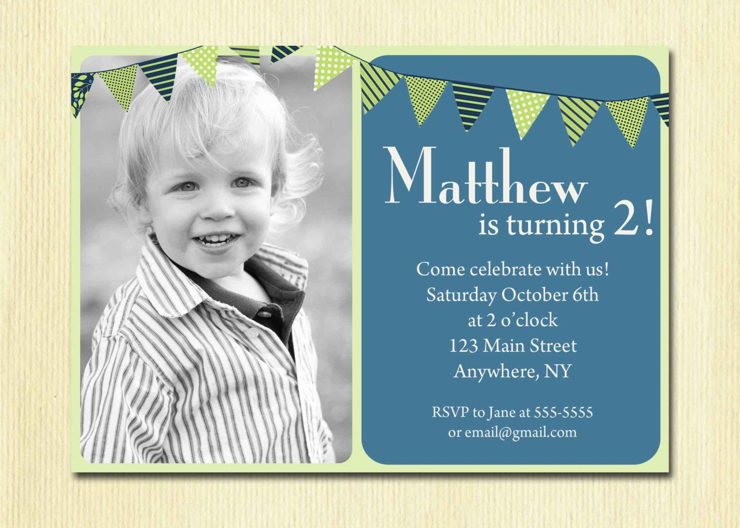 bday party invitation mail%0A First Birthday Baby Boy Invitation  st  nd  rd  th Birthday